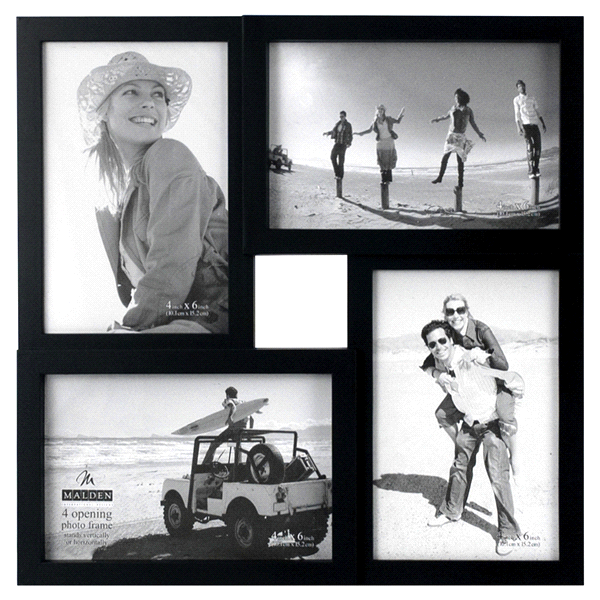 Malden Puzzle 4 Openings 4 x 6 Black Picture Frame Collage | Meijer.com