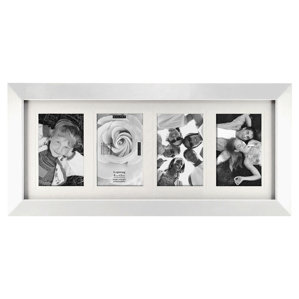 Malden Berkeley Matted 4 Openings 4 x 6 White Picture Frame | Meijer.com