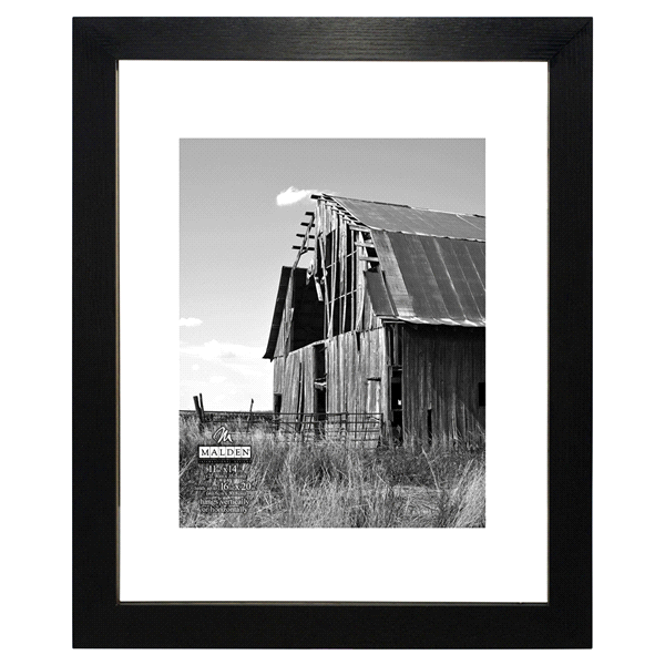 Malden Distressed Matted 11 x 14 - 16 x 20 Black Float Picture Frame ...