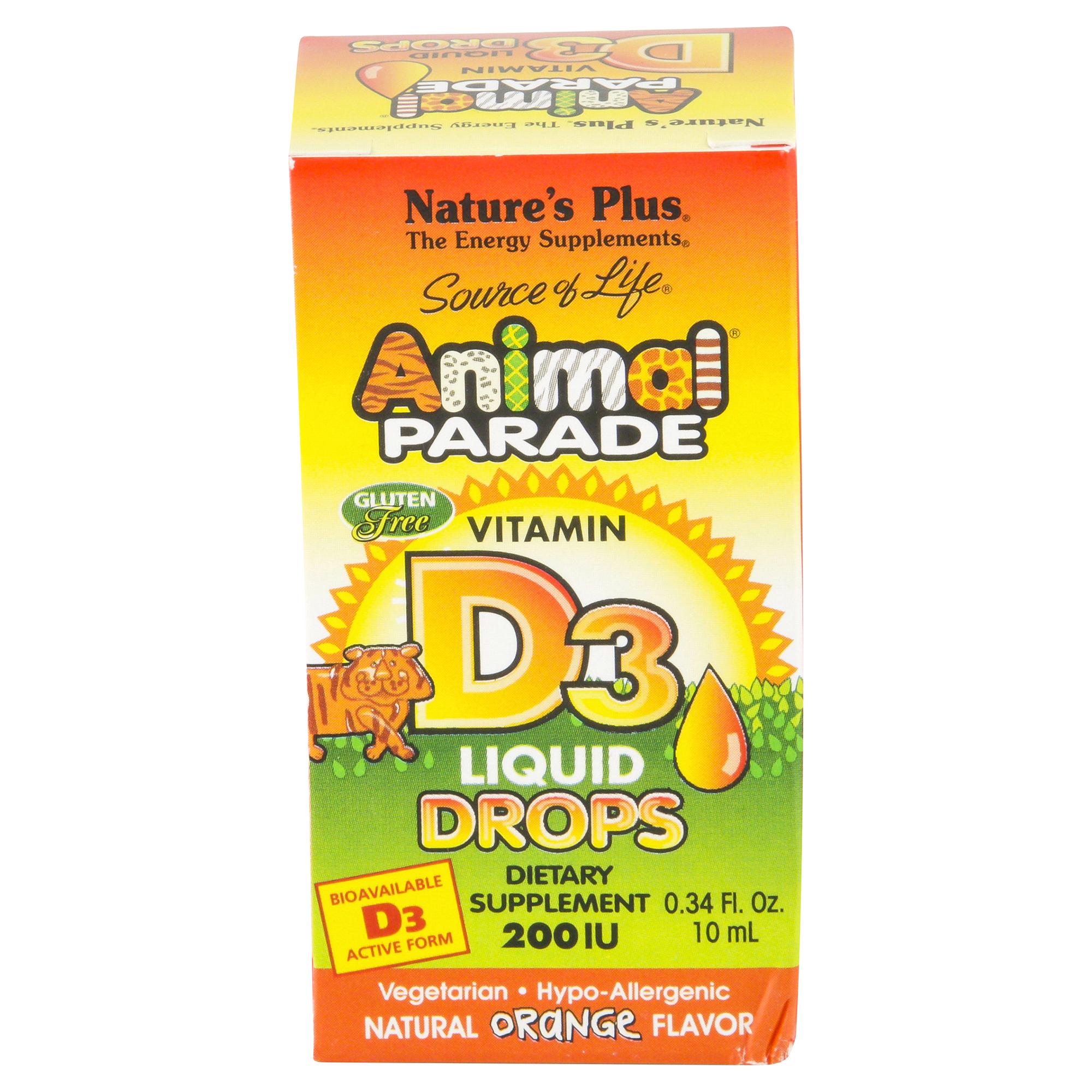 Natures Plus Animal Parade Vitamin D3 Liquid Drops 034 Oz Calcium