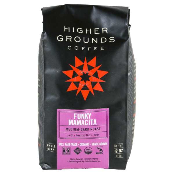 Higher Grounds Organic Whole Bean Coffee Funky Mamacita 12oz ... 8469129324