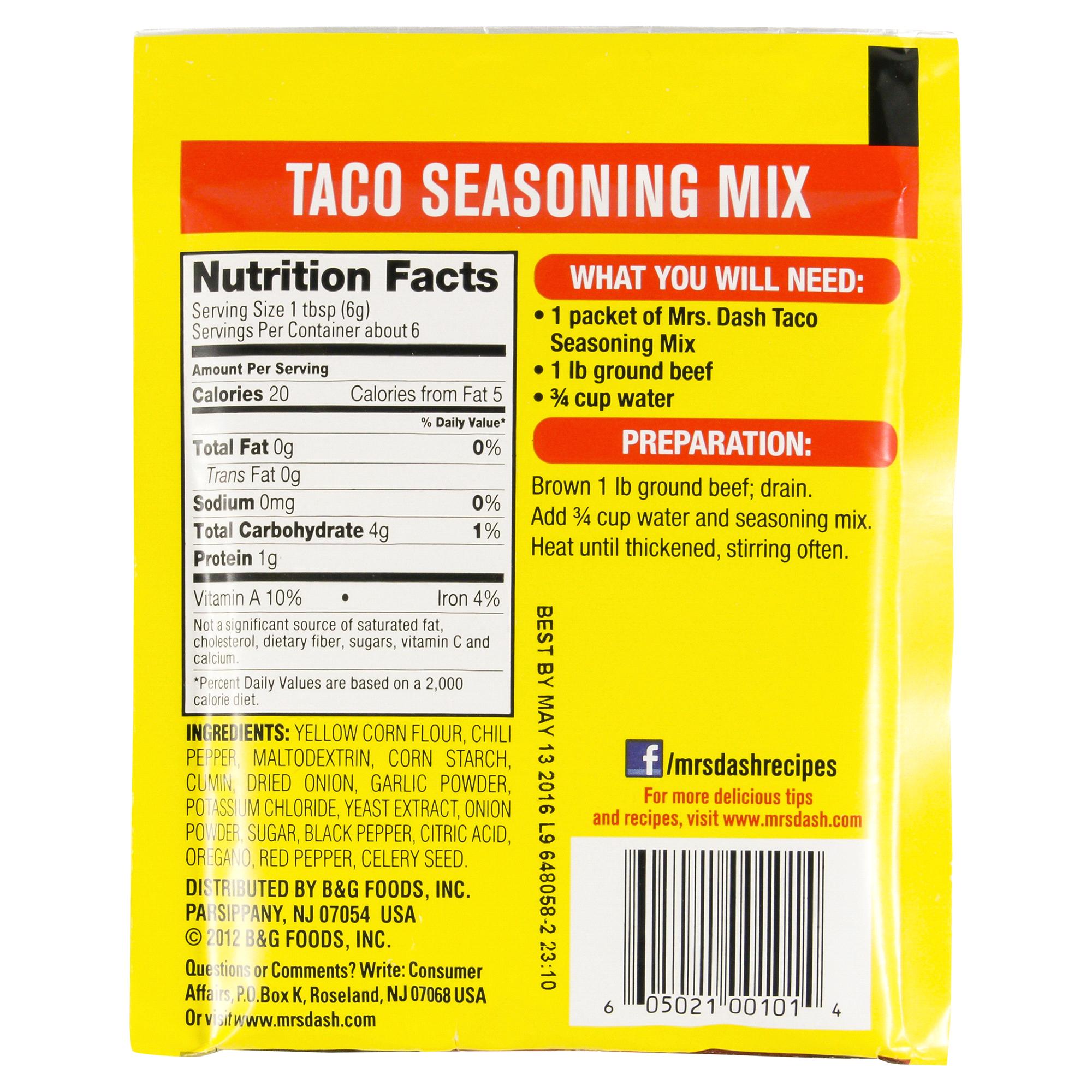Mrs Dash Salt Free Taco Seasoning Mix 1 25 oz