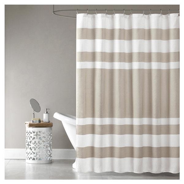 Room Retreat Spa Waffle Shower Curtain Taupe