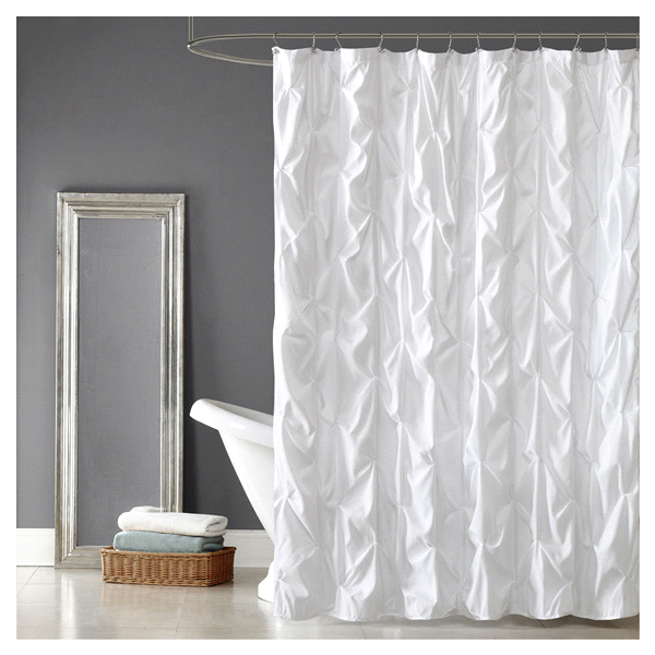 Room Retreat Pintuck Shower Curtain White