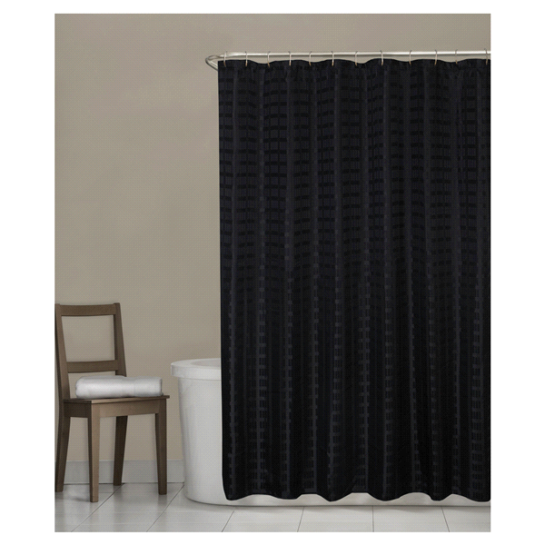 Room Retreat Madison Fabric Shower Curtain Black