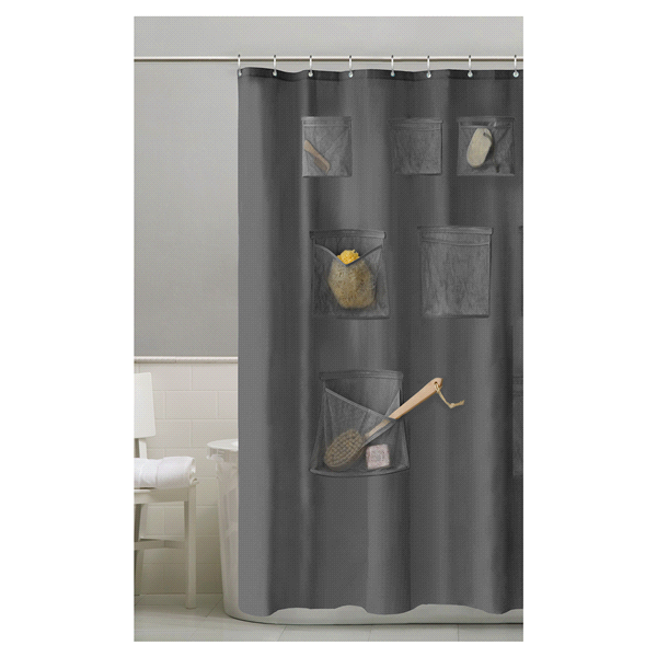 Home Mesh Pockets Shower Liner Grey