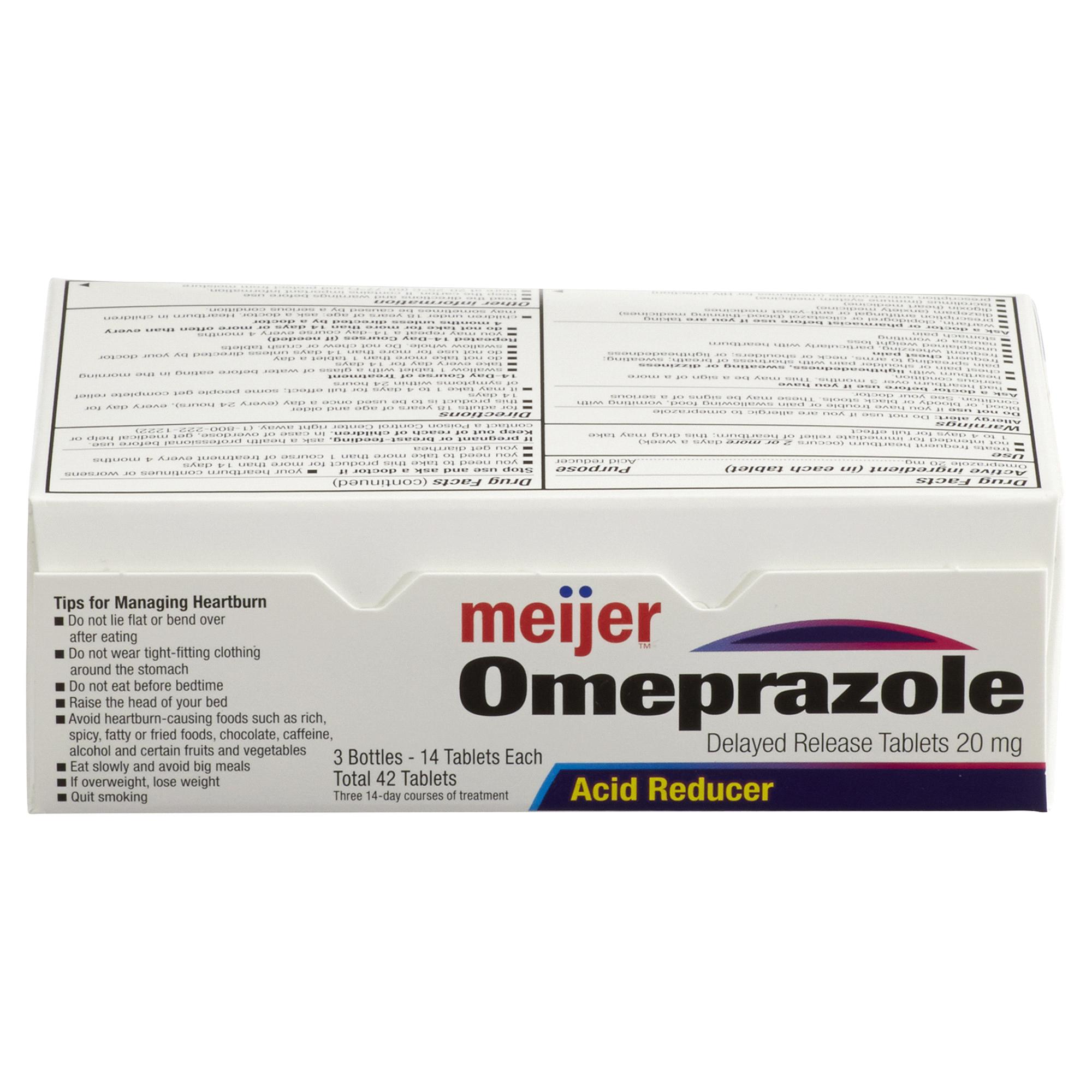 Meijer Omeprazole Delayed Release 20mg Bottle Tablets 3 Bottles -14 ...