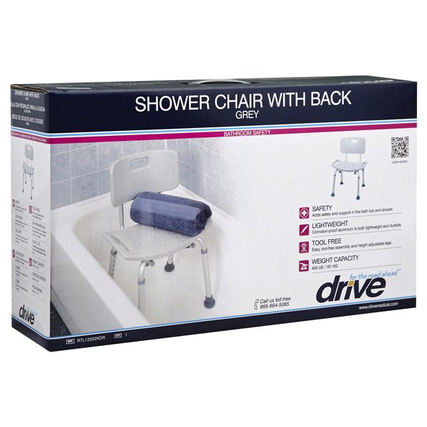 Drive Shower Chair with Back - Grey | Meijer.com