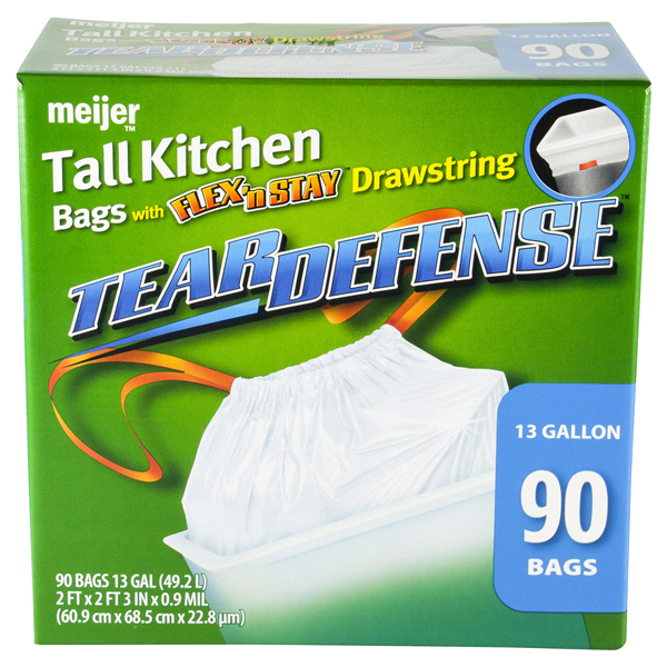 meijer 13 gallon tall kitchen trash bags 90 count - Tall Kitchen Trash Bags