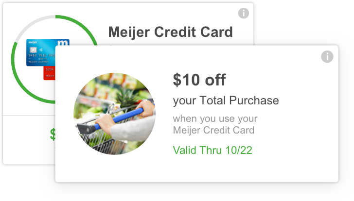 meijer mperks credit card - $10 off your total purchase when you use your meijer credit card.