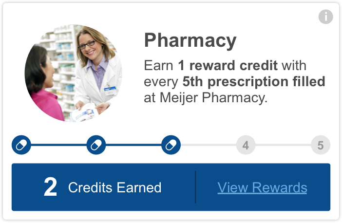 meijer mperks - every 1 reward credit with every 5th prescription filled at meijer pharmacy.