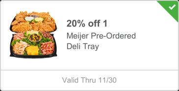 20% off 1 meijer pre-ordered deli tray